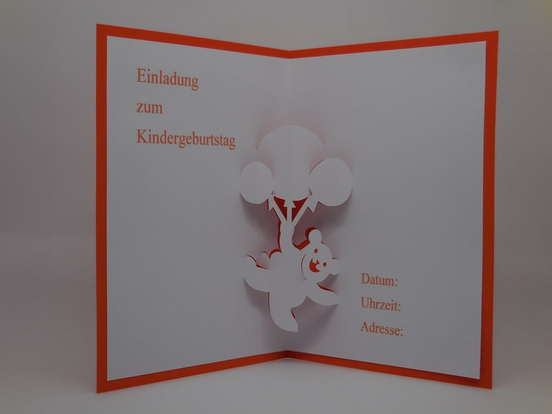 Pop Up Card Invitation To The Childrens Birthday