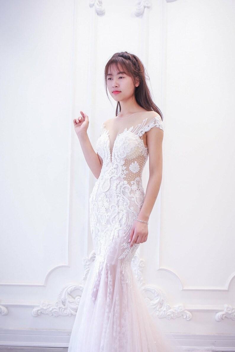 20319669404 Cap Sleeves  Mermaid Wedding Dress  Vintage Lace Bridal Gown