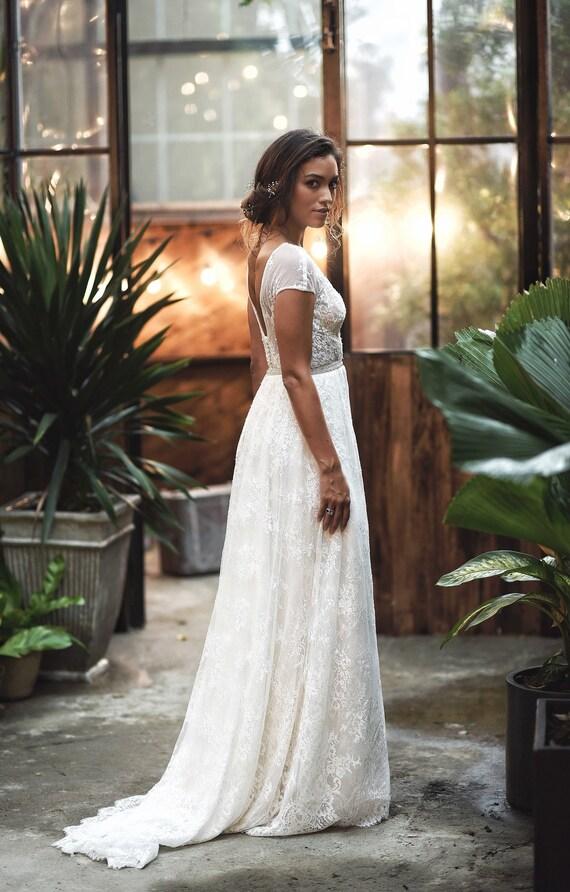 Aline Vintage Wedding Dress Full Lace Wedding Dress Retro Wedding Style Cap Sleeves Open Back