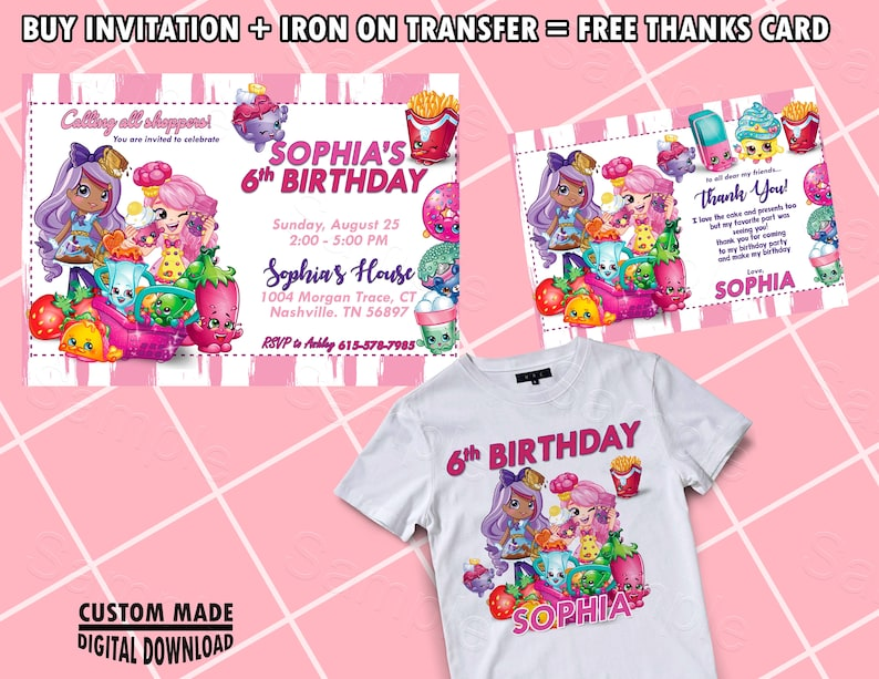 image regarding Shopkins Invitations Free Printable named Shopkins Invitation, Shopkins Birthday Celebration, Shopkins Females Invite, Shoppies Invites, Shopkin Printable Invitations, Shopkins Electronic Card