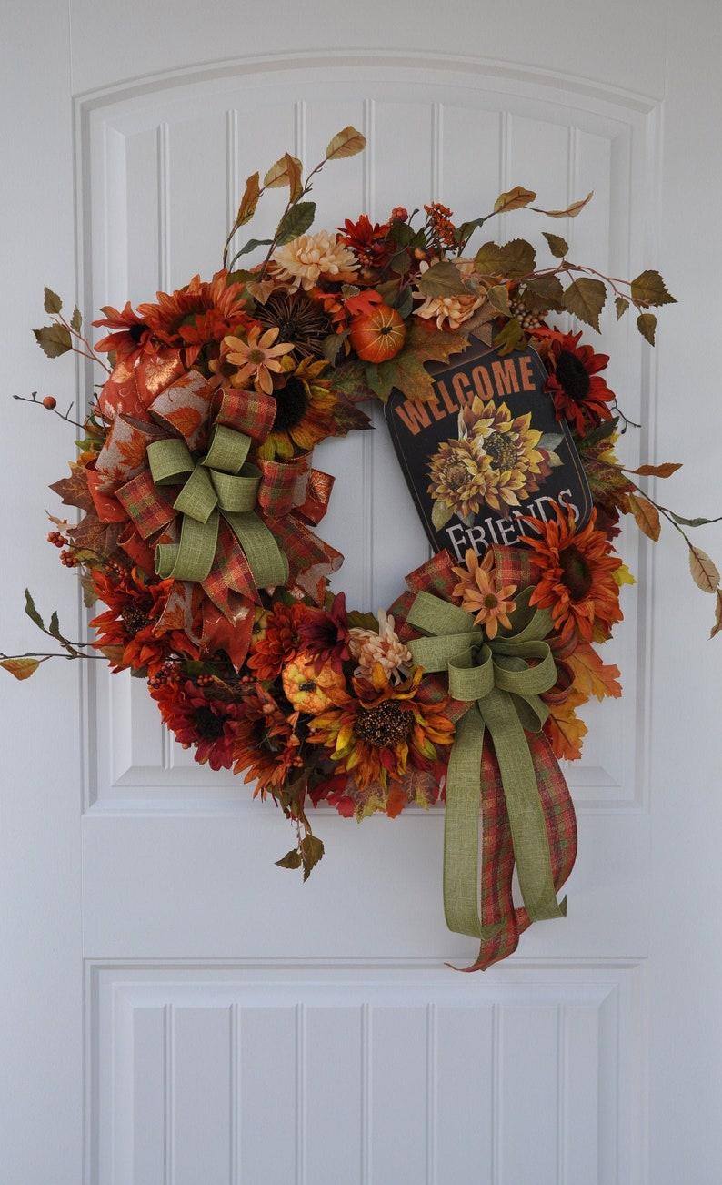 Front Door Wreath Fall Grapevine Wreath Fall Front Door Etsy