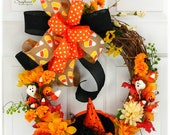 Witch Hat Wreath for Front Door, Candy Corn Wreath, Witch Hat Wreath, Halloween Wreath for Front Door, SunflowerDesigns2018, Autumn Decor