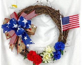American Flag Wreath for Front Door, Patriotic Wreath for Door