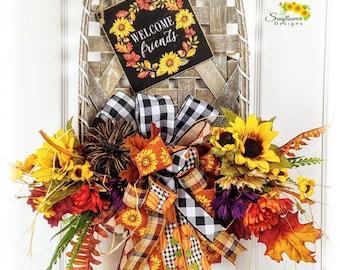 Fall Door Decoration, Tobacco Basket for Door, Welcome Friends Wreath, Fall Welcome Friends Tobacco Basket, Fall Tobacco Basket Decor