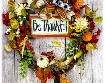 Be Thankful Wreath, Thankful Wreath for Front Door, Fall Floral Wreath, Fall Pumpkin Wreath, Pumpkin Decor, Thanksgiving Wreath, Fall Wreath