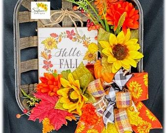 Hello Fall Tobacco Basket. Fall Tobacco Basket. Fall Farmhouse Door Decor.