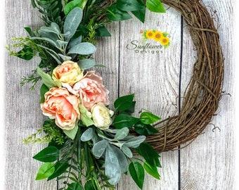 Peaches & Cream Wreath, Summer Wreath for Front Door, Peonies and Roses Wreath, Peony Wreath, Handmade Wreath for Front Door