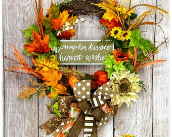 Fall Harvest Wreath for Your Home, Pumpkin Kisses Wreath, Fall Floral Wreath for Front Door, Fall Door Decoration, Harvest Decoration