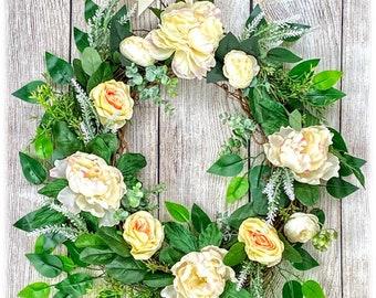 Pink Lemonade Wreath, Pink and White Peonies Wreath, Peonies and Roses Wreath, Peach Roses Wreath