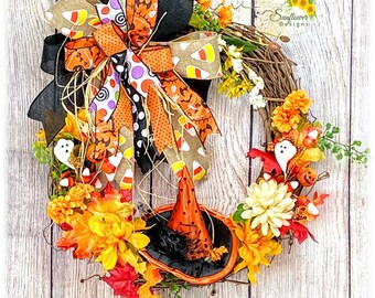 Witch Hat Fall Floral Wreath, Witch Hat Wreath, Halloween Floral Wreath, Fall Floral Wreath, Fall Halloween Wreath, Witch Hat Decoration