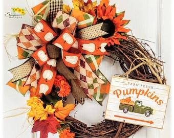Farm Fresh Pumpkins Wreath, Fall Wreath, Fall Wreath for Front Door, Autumn Wreath, Autumn Wreath for Door, Farmhouse Wreath, Rustic Wreath