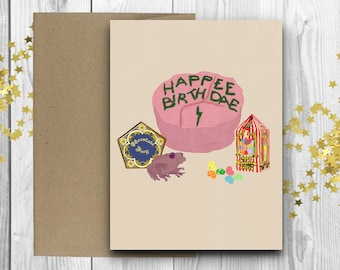 Harry Potter Inspired Birthday Card Happee Birthdae Personalised With Your Own Name