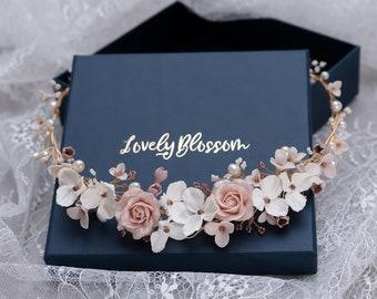 Bride Flower Wreath Hairband Headband Roses Hair Jewelry Boho Wedding Headdress Hair Flowers Dirndl Jewelry Handmade Bride Headdress Luxury