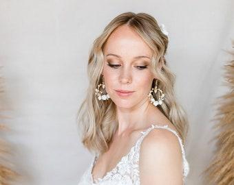 BOHO BRIDE EARRINGS /Bride Earrings Flowers and Freshwater Pearls Circle Earrings Boho Bride Earrings