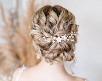 BLUMENRANKE / hair accessories bridal hair accessories flower comb as bridal veil hair cutBOHO bridal IVORY flower comb wedding headpiece