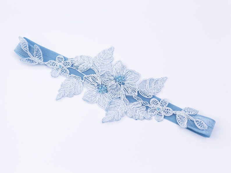 Garter Boho Gift for the Bride Embroidered with Blue or Ivory Beaded Handmade Romantic Wedding Bridal Lace Garter blue ivory Pearl
