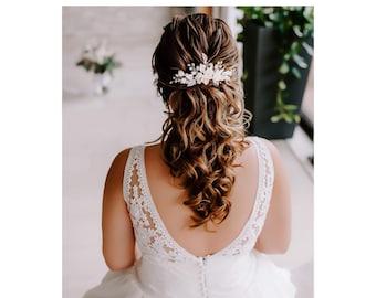 BRIDE HAIR JEWELRY Flower Comb Hair Comb Peonies Freshwater Pearls Wedding Headdress Bridal Headpiece Handmade Bride Headdress Luxury