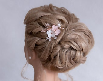 HYDRANGEA / Bride Hairpin Flowers & Beads Composition as Bride Hair Jewelry Headdress Hairpiece Bridal Headpiece Floral Hairpins