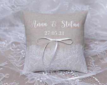 NAMES RINGKISSEN / wedding pillow, wedding, wedding pillow, classic lace ring cushion, natural linen fabric, custom