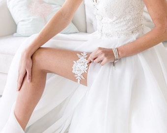 GARTER FOR WEDDING delicate floral lace embroidered with blue or ivory pearls Wedding Bridal Garter
