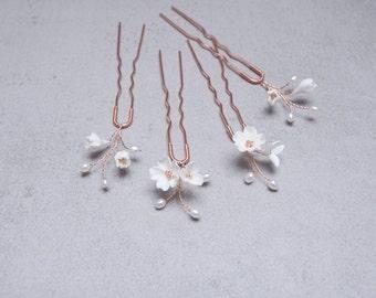 Bridal Jewelry Hairpin SET - 4Pcs Flowers & Pearls as Bride Hair Jewelry Wedding Headdress Hair Arrangement Bridal Headpiece Floral Hairpins