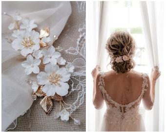 JASMIN & APPLE BLOSSOM Bride Hair Jewelry Wedding Headdress Flower Tendril Bridal Veil Hair Arrangement Handmade Bride Headdress Luxury