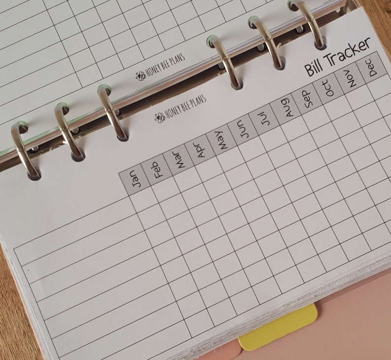 Bill tracker Personal Planner inserts