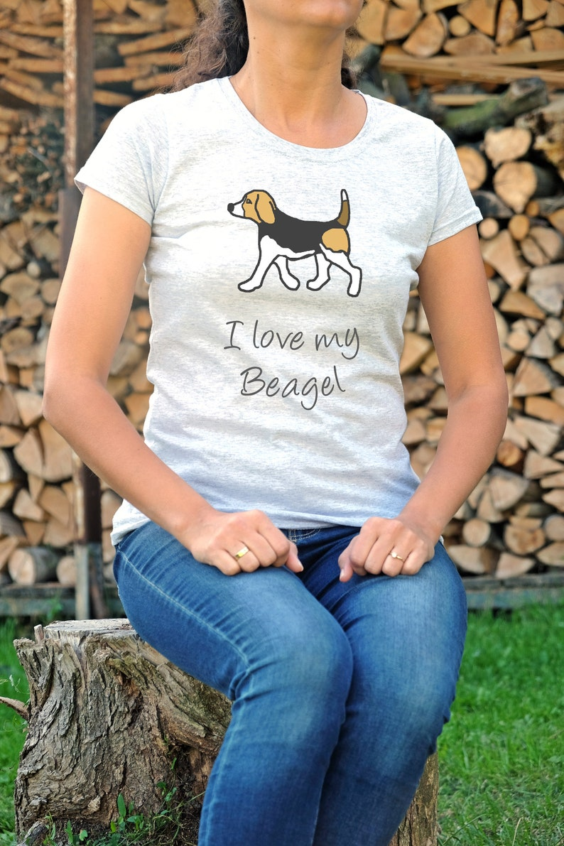 5fbe5fec07c2e Dog handpainted tshirt, gift for beagle lovers, paint pet owner tees,  Beagle shirts custom, dog mom object with a dog