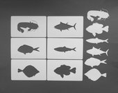 fish silhouette stencils 6Pack