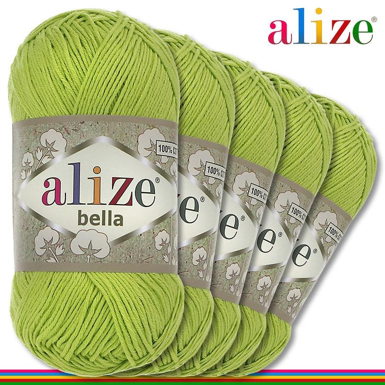 Crochet Alize Bella 5 x 50 g Wool 100/% cotton Knitting DIY 612 Poisonous green