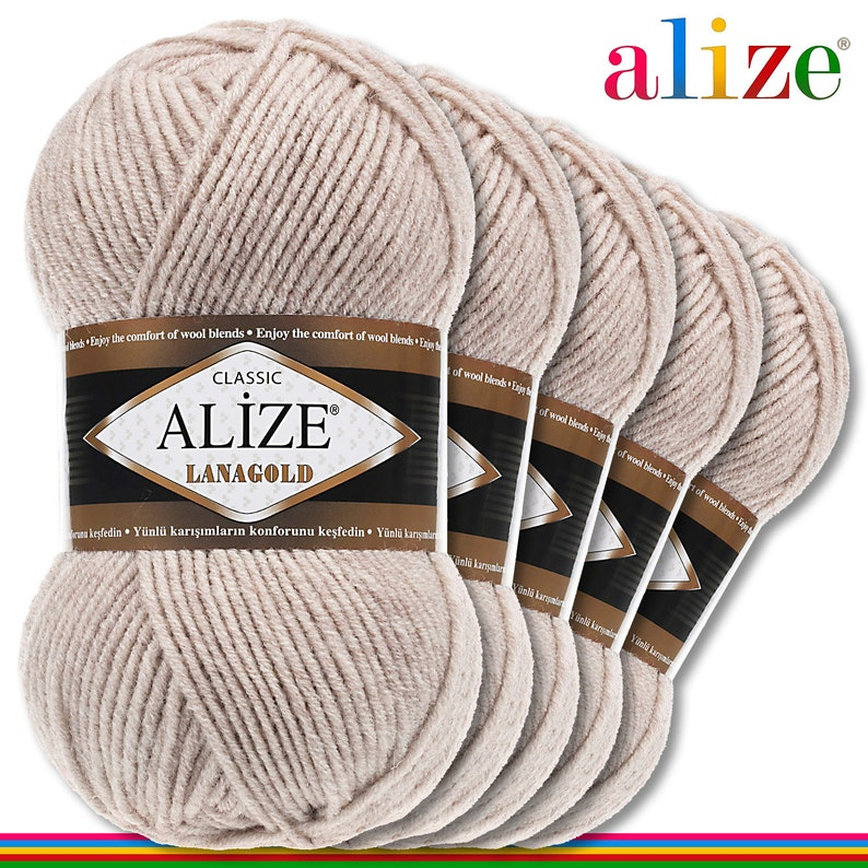 Alize 5 x 100 g Lanagold PREMIUM wool 49 percent wool and 51 percent acrylic 585 stone Handmade