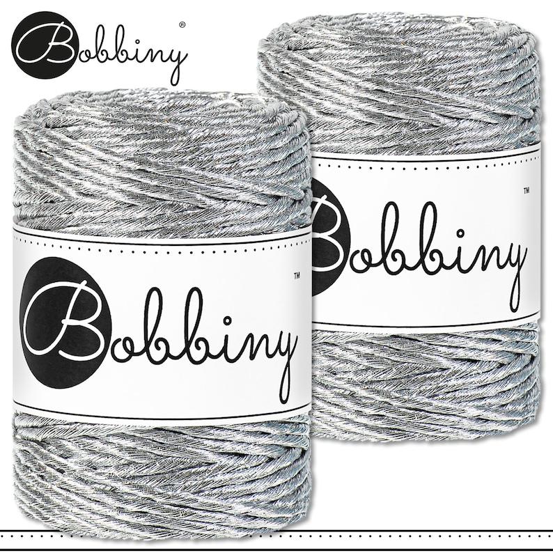 Bobbiny 2 x 220 g 3 mm 50 m Premium Macrame Cord Metallic Silver