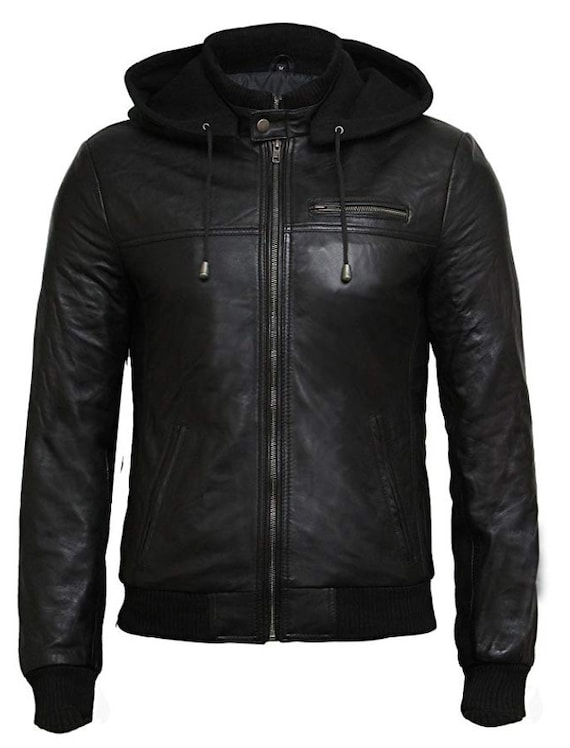 Fashion Black Sheep Real Leather Jackets for Men with Removable Hoods