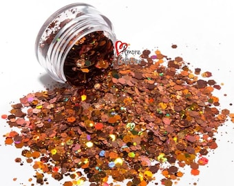 Bronze Holographic Glitter Mix Loose Glitter Chunky Glitter Solvent Resistant  Cosmetic Glitter