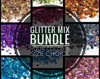 Custom Chunky Holographic Glitter Mix Bundle Loose Glitter Solvent Resistant  Cosmetic Glitter