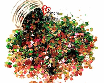 Color Shifting Glitter Mix Green Dark Red Loose Glitter Chunky Glitter Polyester Glitter