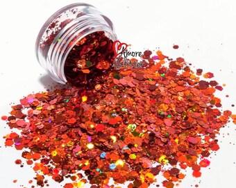 Burnt Orange Holographic Glitter Mix Loose Glitter Chunky Glitter Orange Glitter Solvent Resistant  Cosmetic Glitter