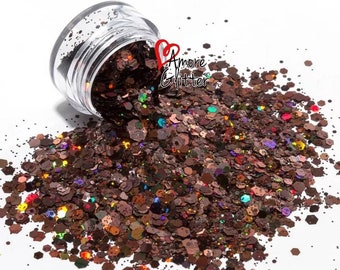 Brown Holographic Glitter Mix Loose Glitter Chunky Glitter Brown Glitter Solvent Resistant  Cosmetic Glitter