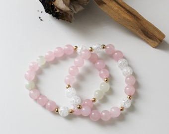 Rose quartz, rock crystal + rose quartz, rock crystal and moonstone amber bands - for more love and harmony - charged with Reiki energy