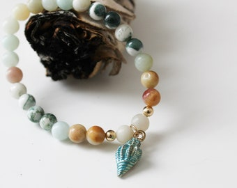 More self-confidence and hope - free yourself from fears / Moss-Agate and amazonite mala bracelet with Reiki energy