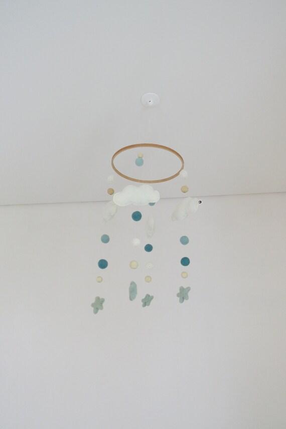 Mobile Kinderzimmer Dekoration Filzmobile Filz Holz Mobile Filzkugeln Geschenk Geburt Babyshower Mobile Mint Mobile Wolken Sterne