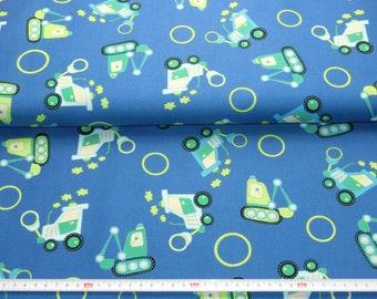 Cotton fabric blue with colorful excavators 100% cotton meterware 8.00 Euro/meters