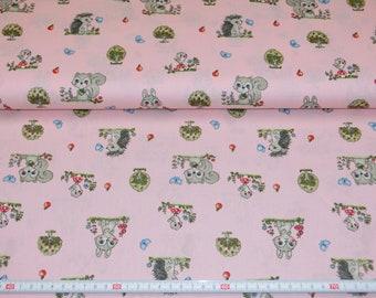 Cotton fabric pink animal favorites, hedgehogs, squirrels, bunnies 100% cotton meterware 8.00 Euro/meters