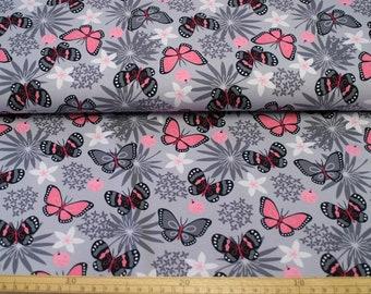 Jerseystoff - Schmetterlinge und Blumen - Baumwolljersey Meterware 11,00 euro/meter