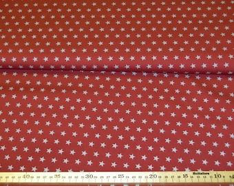 Cotton fabric dark red with light grey stars 100% cotton meterware 8.00 Euro/Meter