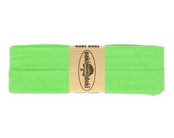 Jersey Schrägband 3,0m lang und 2,0cm breit - Einfassband Oaki Doki Farbe: 951 - NEON GRÜN für 3,00 euro/stück