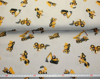 Cotton fabric grey with construction vehicles 100% cotton meterware 8.00 Euro/Meter