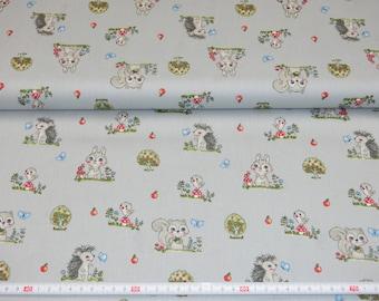 Cotton fabric grey animal favorites, hedgehogs, squirrels, bunnies 100% cotton meterware 8.00 Euro/Meter