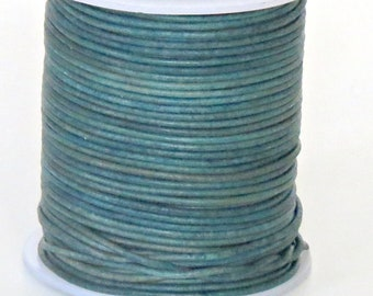 Full-grain leather cord 1.5mm round Navy blue 5 yard