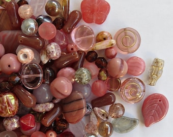 40 gr (about 1 1/5 oz) Glass Bead Mix, Dusty Rose, Czech Glass